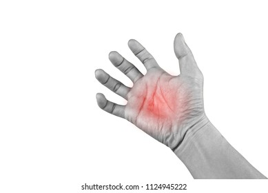 The man hands of beriberi,Dystonia or Hand pain isolated on white background with clipping path.