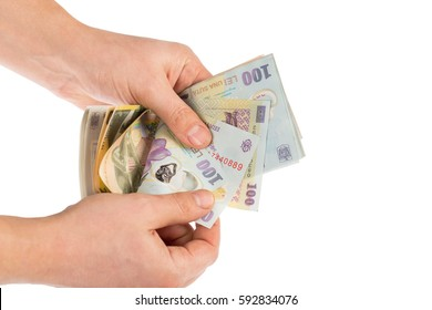 Man hands counting romanian money lei