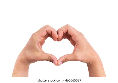 man hands in the form of heart against the white background, hands in shape of love heart valentine day concept