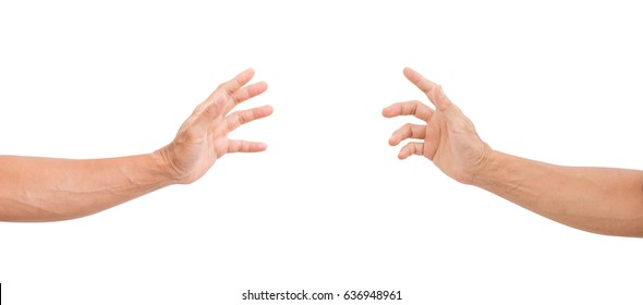 Man hands grabbing isolated on white background. clipping path