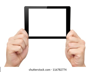 man hands hold a mini tablet touch pad computer gadget with isolated screen