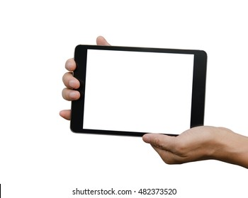 Man hands holding digital tablet computer isolated over white background.