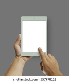 Man hands holding modern colorful tablet. Editable. Ready for your design. 16:9 aspect ratio.Mock up