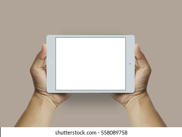 Man hands holding modern colorful tablet. Editable. Ready for your design. 16:9 aspect ratio. Horizontal mock-up.