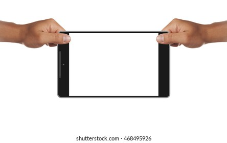 Man hands holding modern tablet. Editable. Ready for your design. Perfect for 2560x1440 resolution.Horizontal mockup