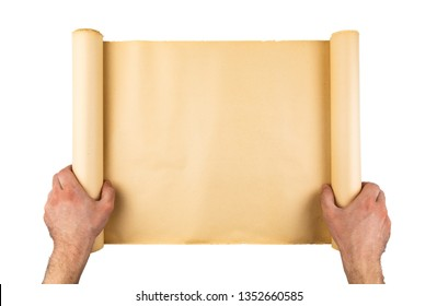 Man hands holding old stressed paper roll. Empty space, room for text, copy ,lettering. Vertical background.