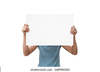 man hands holding paper isolated on white background. with clipping path.