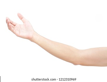 Man hands holding something on white background for product advertising concept