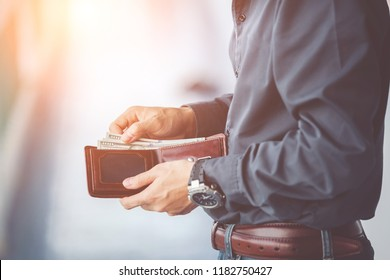 man hands holding wallet,empty wallet