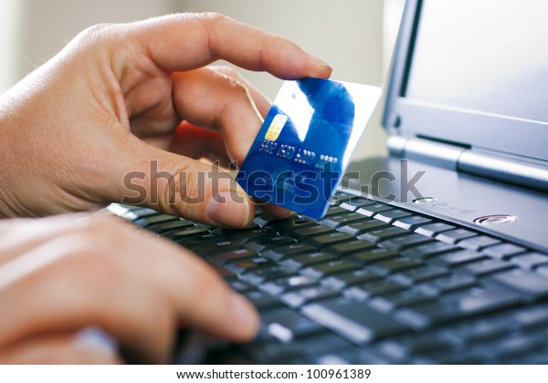 Man hands, laptop, credit card, shopping online payment