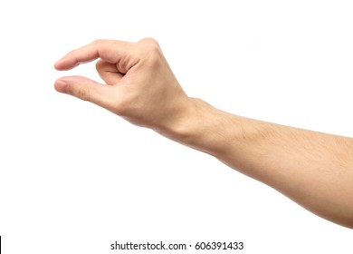Man hand's measuring invisible item. Isolated on white