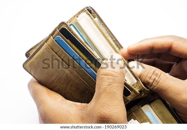 man hands open wallet