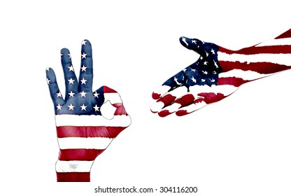man hands painted as the american flag.  Isolated with white background