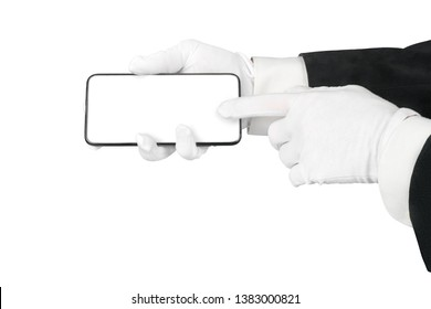 Man hands in suit and white gloves using smart phone. Isolated in white with clipping path, copy space on the smartphone screen