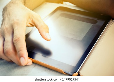 man hands with tablet computer