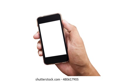 Man hands using smart phone isolated on white background, Shape hand and phone, Smart phone white screen collection, Hand holding smart phone mobile isolate, Smart phone mobile with hand on white