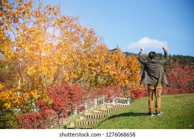 A man hands up and walking up on the slope with red yellow tree in autumn season, taken from Hokkaido Japan. Successfull concepts.