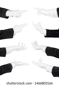 Man hands in white glove and black suit set. Holding, pointing, supporting and offering hands isolated with clipping path