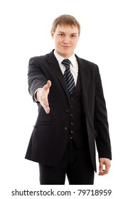 Man with handshake. Isolated over white.