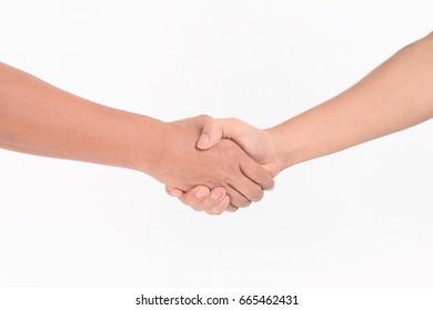 Man Handshake on white background