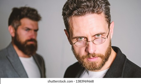 Man handsome bearded mature guy wear eyeglasses. Eye health and sight. Optics and vision concept. Smart glance. Accessory for smart appearance. Wearing glasses may really mean you are smarter.