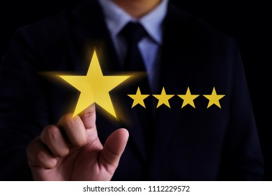 Man Happy Customer give  Five Star Rating Experience Customer service and care Concept