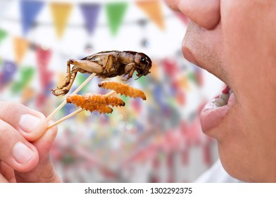Man happy opening his mouth eating Bamboo Worms and Crickets insect on wooden skewer. Food Insects for eat as food items, it is good source of meal high protein edible. Entomophagy concept.