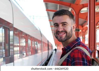 Man happy to take the train