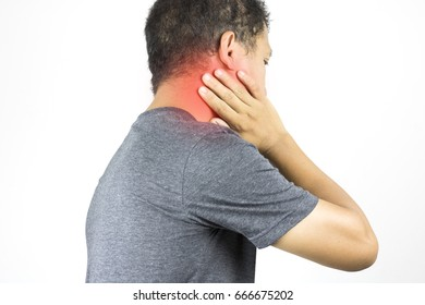 man has neck ache and hand touch with pain  on white background