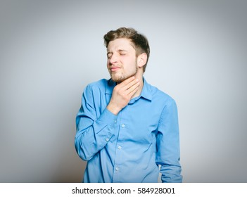 man has a sore throat isolated on white background