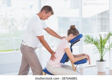 Man having back massage in medical office
