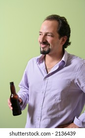 Man having a beer after work