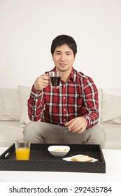 Man having a breakfast
