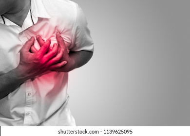 Man having chest pain - heart attack black and white tone, hearth care and medicine concept