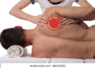 Man having chiropractic back adjustment, healing treatment. Osteopathy, manual therapy, acupressure. Alternative medicine, pain relief concept. Rehabilitation after sport Injury,  isolated on white.
