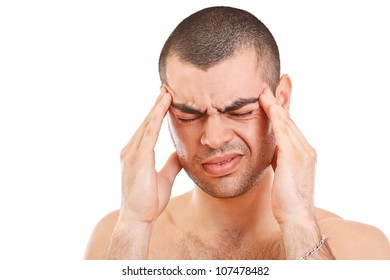 Man having a headache isolated on white background