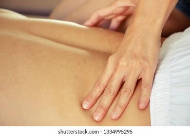 Man is having massaging is spa