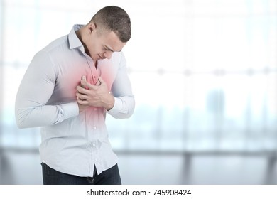 Man having a pain in the heart area