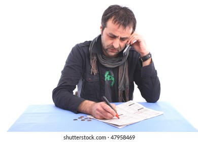 Man having a phone conversation over an interview  appointment isolated over white background