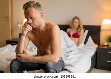 Man having problems in bedroom