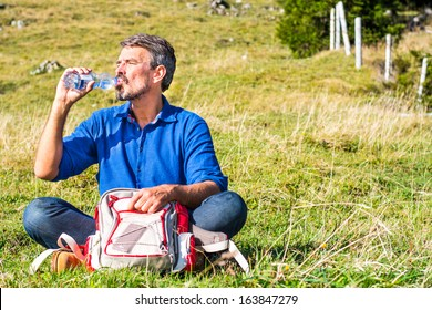 Man having a rest in the mountains