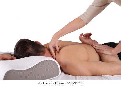 Man having sport massage. Acupressure, Chiropractic, osteopathy, concept. Isolated on white