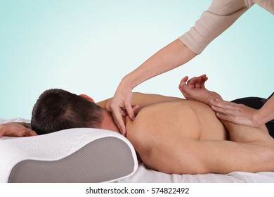 Man having sport massage. Acupressure, Chiropractic, osteopathy, concept .