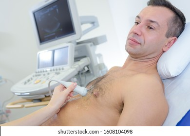 Man having ultrasound of the heart
