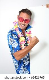 Man with hawaian shirt on white background