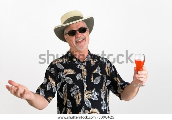 Man in hawaiian shirt, happy and relaxed