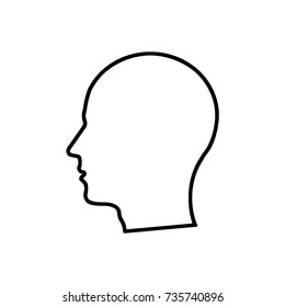 Man head outline on white background
