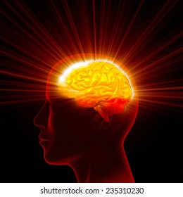 Man head with shining brain.
