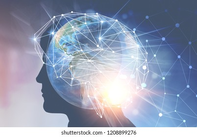Man head silhouette with double exposure of earth with global network sketch. Hi tech concept. Toned image double exposure. Elements of this image furnished by NASA