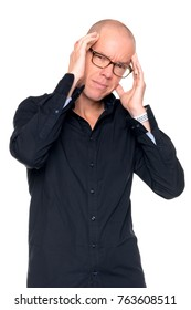 Man with headache infront of white background